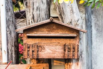 old wood mailbox