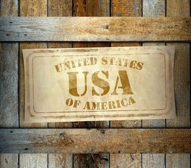 Stamp USA label old wooden box
