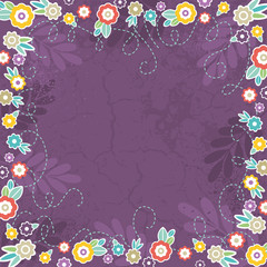 purple background of color flowers, vector