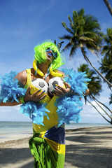 Funny Brazilian Soccer Fan on Beach