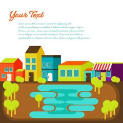 Flat design modern illustration stylish colors of cartoon town