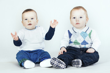Two baby boys in studio