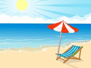 Beach chair and umbrella on tropical beach