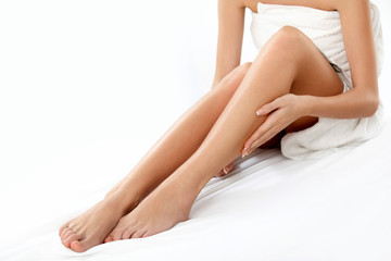 Long Woman Legs isolated on white. Epilation