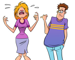 Quarreling cartoon couple