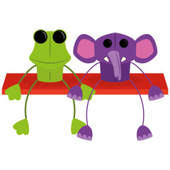 Cartoon Couple Of Cute Characters Isolated