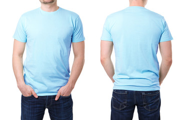 Blue t shirt on a young man template