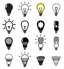 Set of light bulbs icons.