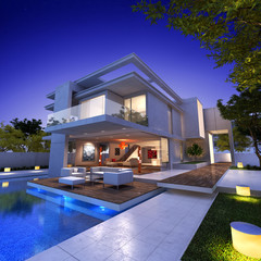 Contemporary house with pool bauhaus