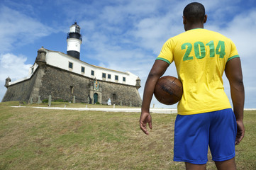 Brazil 2014 Football Player Salvador Lighthouse with Soccer Ball