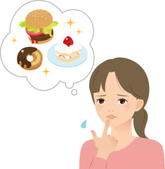 高カロリーを気にする若い女性