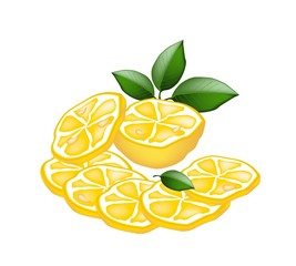 Half and Sliced of Lemon on White Background
