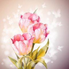 Tulips flowers background.