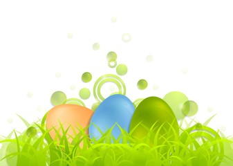 Easter egg background with green grass
