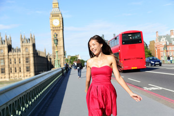 Wall Mural - London woman happy walking by Big Ben, England