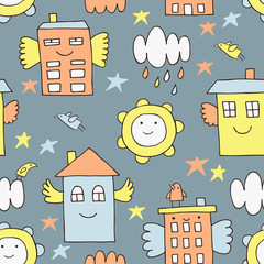 Flying house seamless background