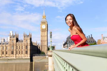 Wall Mural - London - happy woman by Big Ben in England