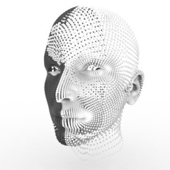 Portrait of futuristic 3d female model on white background