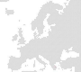 Pixelkarte Europa: Athen liegt hier