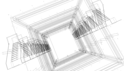 Abstract architectural 3D construction. Concept