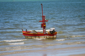 Alone  landing boat on beach