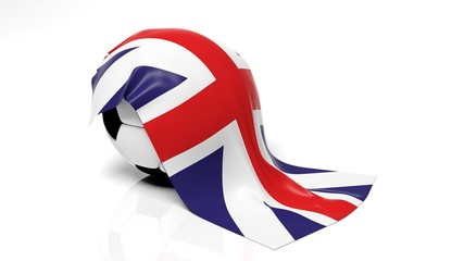 Classic soccer ball with flag of United Kingdom