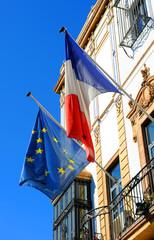 Banderas de Francia y Europa