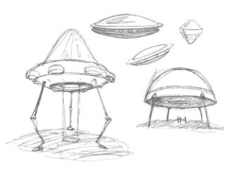 Set of Ovnis. Pencil drawing sketch.