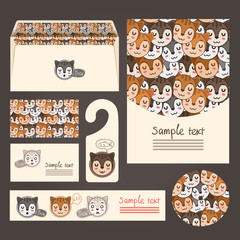 Corporate identity templates with cats