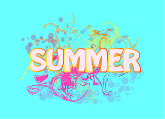 Abstract summer background Vector . Colorful poster with sign .