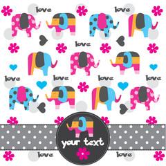 cute elephant pattern greeting card