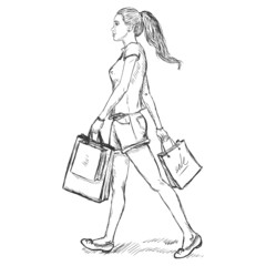 Vector Sketch Shopping Girl