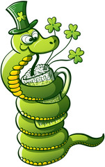 Saint Patrick's Day Snake Drinking Beer