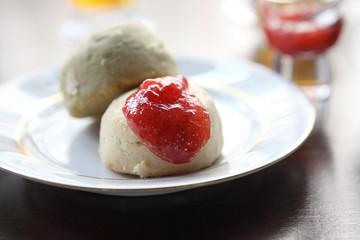 scones tea with strawberry jam
