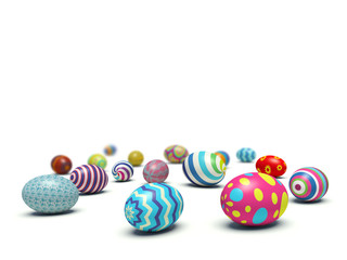 Colorful Easter eggs lying on the ground
