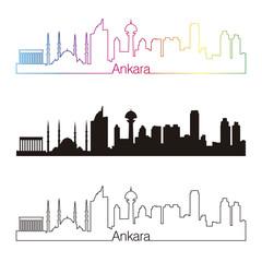 Ankara skyline linear style with rainbow