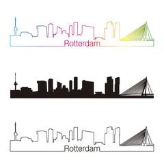 Deurstickers Rotterdam Rotterdam skyline linear style with rainbow