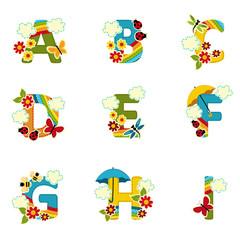 alphabet rainbow from A to I - vector illustration