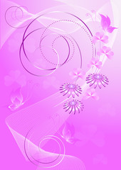 Purple background with flowers and butterflies