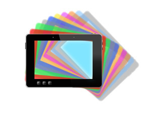 black tablet with motley multicolored shadows
