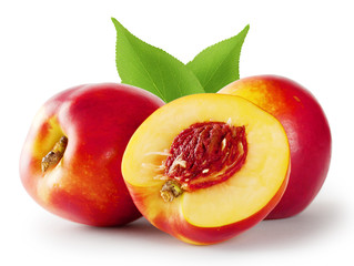 Ripe juicy nectarine with leaves