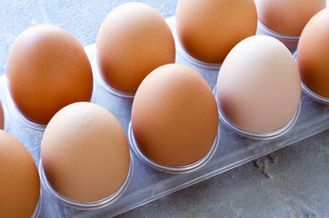 eggs chicken in a tray