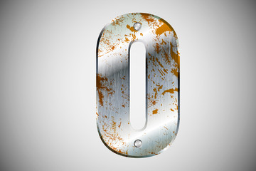 Metal letters of the alphabet O