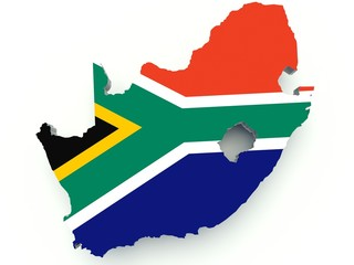 Map of South Africa with flag colors. 3d render