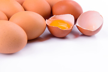 heap of eggs isolated