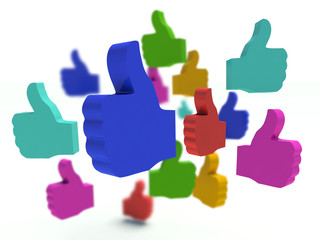Group of colorful thumbs up signs. 3d render.