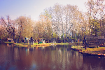 Lake and lodges on the shore