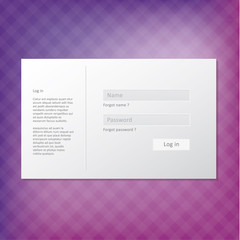 Vector trendy login form. Modern minimal graphic with place for