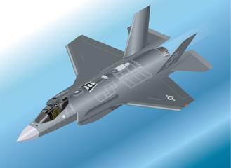 Detailed Isometric Illustration of an F-35 Lightning II Jet
