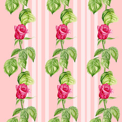 Seamless pattern with red roses flowers. Watercolor illustration